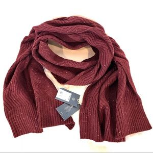 Universal Thread Oblong Ribbed Knit Scarf Burgundy